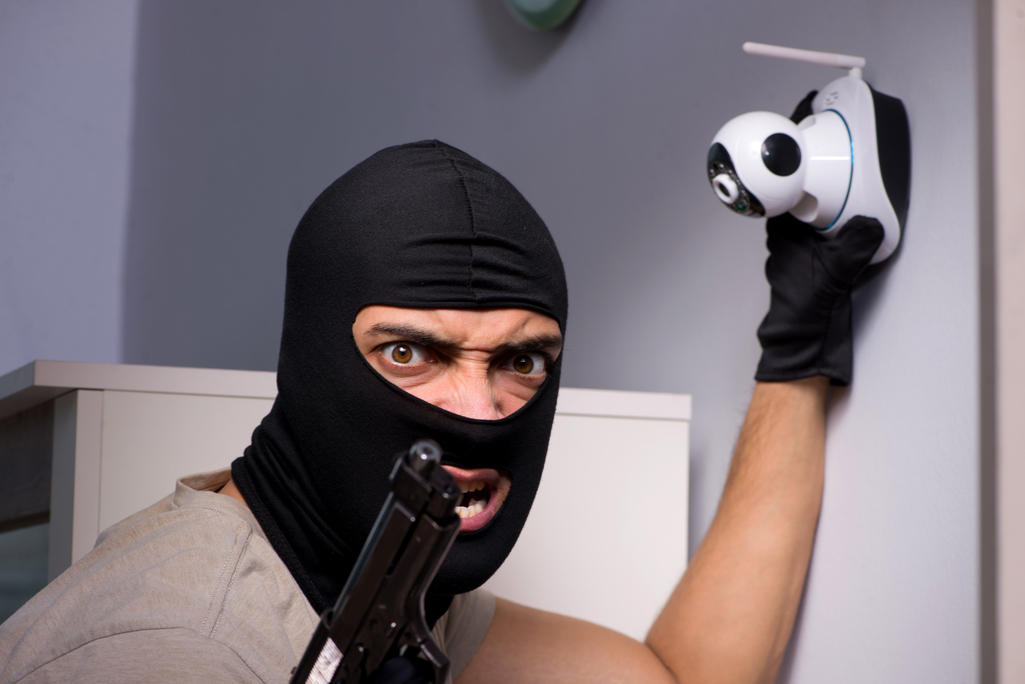 Picture to show burglar stealing a security camera